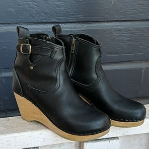 No.6 Leather Heeled Boot Clogs, size 38